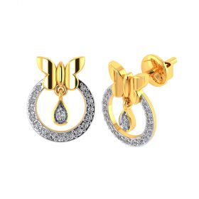 Vaibhav Jewellers 18k Yellow Gold and American Diamond Stud Earrings for Women VE-816
