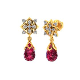 Vaibhav Jewellers 18k Yellow Gold and American Diamond Drop Earrings for Women VE-817