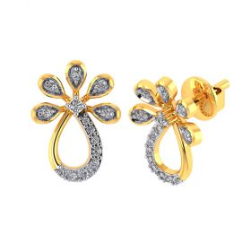 Vaibhav Jewellers 18k Yellow Gold and American Diamond Stud Earrings for Women VE-818