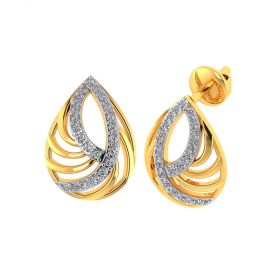 Vaibhav Jewellers 18k Yellow Gold and American Diamond Stud Earrings for Women VE-819