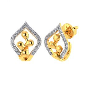 Vaibhav Jewellers 18k Yellow Gold and American Diamond Stud Earrings for Women VE-820