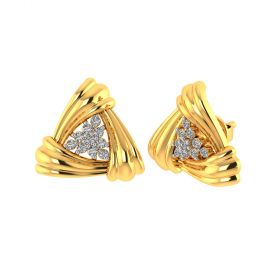 Vaibhav Jewellers 18k Yellow Gold and American Diamond Stud Earrings for Women VE-825