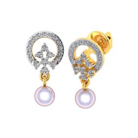 Vaibhav Jewellers 18k Yellow Gold and American Diamond Stud Earrings for Women VE-826