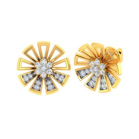 Vaibhav Jewellers 18k Yellow Gold and American Diamond Stud Earrings for Women VE-827