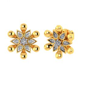 Vaibhav Jewellers 18k Yellow Gold and American Diamond Stud Earrings for Women VE-828
