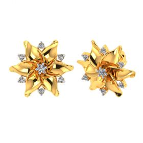 Vaibhav Jewellers 18k Yellow Gold and American Diamond Stud Earrings for Women VE-829