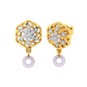 Vaibhav Jewellers 18k Yellow Gold and American Diamond Stud Earrings for Women VE-830