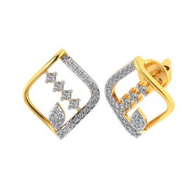 Vaibhav Jewellers 18k Yellow Gold and American Diamond Stud Earrings for Women VE-831