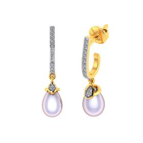 Vaibhav Jewellers 18k Yellow Gold and American Diamond Drop Earrings for Women VE-833