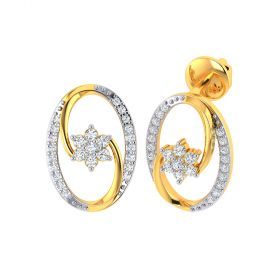 Vaibhav Jewellers 18k Yellow Gold and American Diamond Stud Earrings for Women VE-834