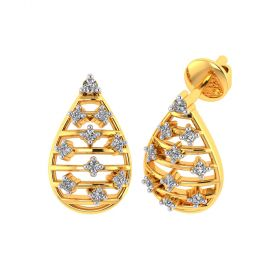 Vaibhav Jewellers 18k Yellow Gold and American Diamond Stud Earrings for Women VE-837
