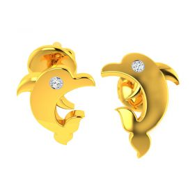 18KT Yellow Gold Kids Studded Earrings VKE-941