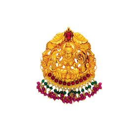 Divine Antique Gold Pedant with Ruby & Emerald Beads