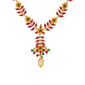 10VG3783 | Gold Ruby Emerald Necklace 10VG3783