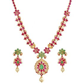 Floral Emerald-Ruby Necklace
