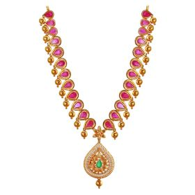 Gold Raindrop Beaded Necklace With Rubies