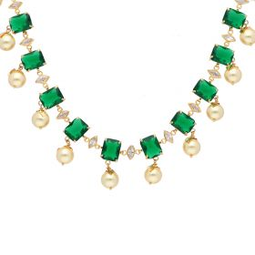 110VG3824 | Emerald & Pearl Drop Pachi Necklace