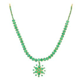 110VG4129 | 22KT Precious Emerald Gold Necklace 110VG4129
