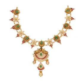 110VG4438 | 22kt Gold Ruby Emerald CZ Necklace  110VG4438