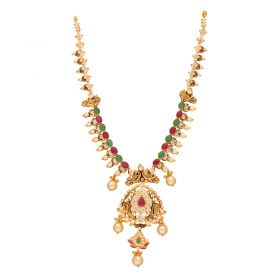 110VG4439 | 22kt Gold Ruby Emerald CZ Necklace  110VG4439