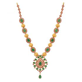 110VG4449 | 22kt Gold Ruby Emerald Necklace  110VG4449