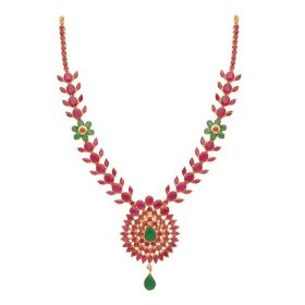 110VG4450 | 22kt Gold Ruby Emerald Necklace  110VG4450