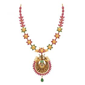 110VG4451 | 22kt Gold Ruby Emerald Necklace  110VG4451
