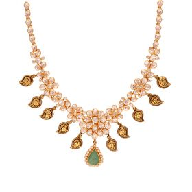 110VG4638 | 22K Gold Emerald Cz Necklace 110VG4638