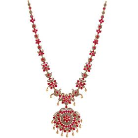 Charming Ruby and Pearls Necklace