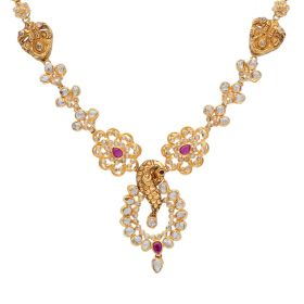 117G183 | Rustic Antique Polki Gold Necklace