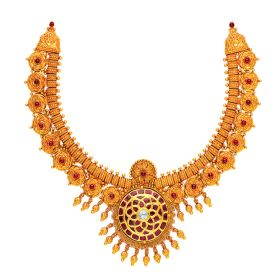 Antique Gulab Gold Necklace with Dangles