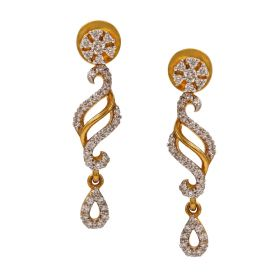 Swirl Drop Diamond Earrings