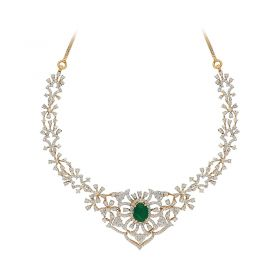 159VG1316 | 18KT Diamond Necklace  with Emerald Stone 159VG1316