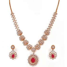 159VG1837 | Gentle Flowery Diamond Necklace Set