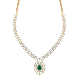 159VG3590 | 18KT Diamond Necklace  with Emerald Stone 159VG3590