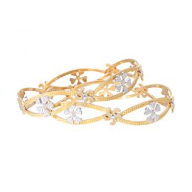 18VH1719 | 22K Two Tone Daisy Gold Bangles