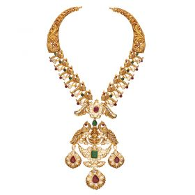 451VG1436 | 22Kt Gold Polki Peacock Lakshmi Necklace   451VG1436