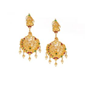 74VI4253 | 22Kt Semi Precious Chandinin Jhumkies   Hangings 74VI4253