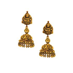 22K Antique Temple Dome Gold Jhumkis