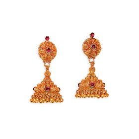 22K Traditional Semi-Precious Ruby Studded Antique Jhumkis