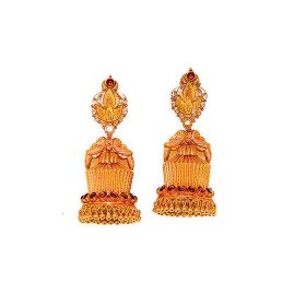 22K Antique Chandelier Gold Jhumkis