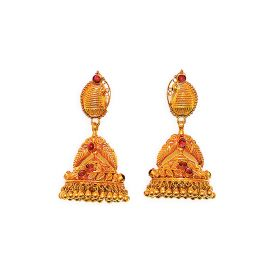Antique Paisley Charm Gold Jhumkis