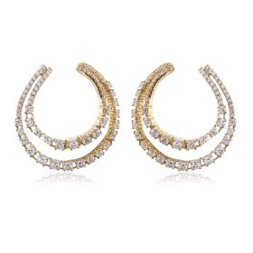 JEF494617 | Crescent Curve Diamond Loops Earring