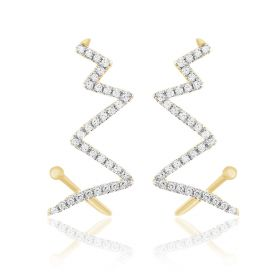 Zig Zag Diamond Studs Earrings