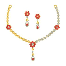 VBJ-NS-2320 | Cz Skew Necklace set NS-2320