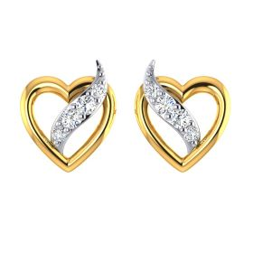 Flame in Heart CZ Studs