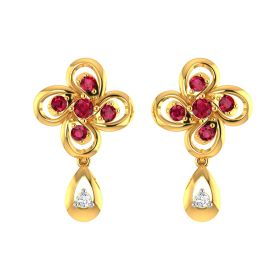 Ruby  and CZ Blossom Drop