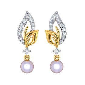 VE-300 | 22k Trendy Paisley CZ and Pearl Gold Drop Earrings