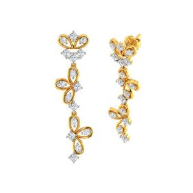 Floral Pin Down Gold Earrings