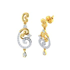 VE-445 | Shimmering Dual Paisley Signity Gold Dangle Earrings